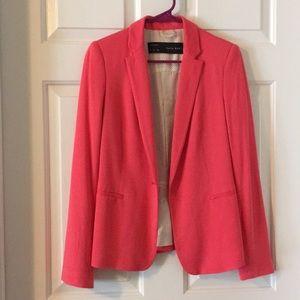 Zara Coral Pink Stretch Lined Blazer Jacket